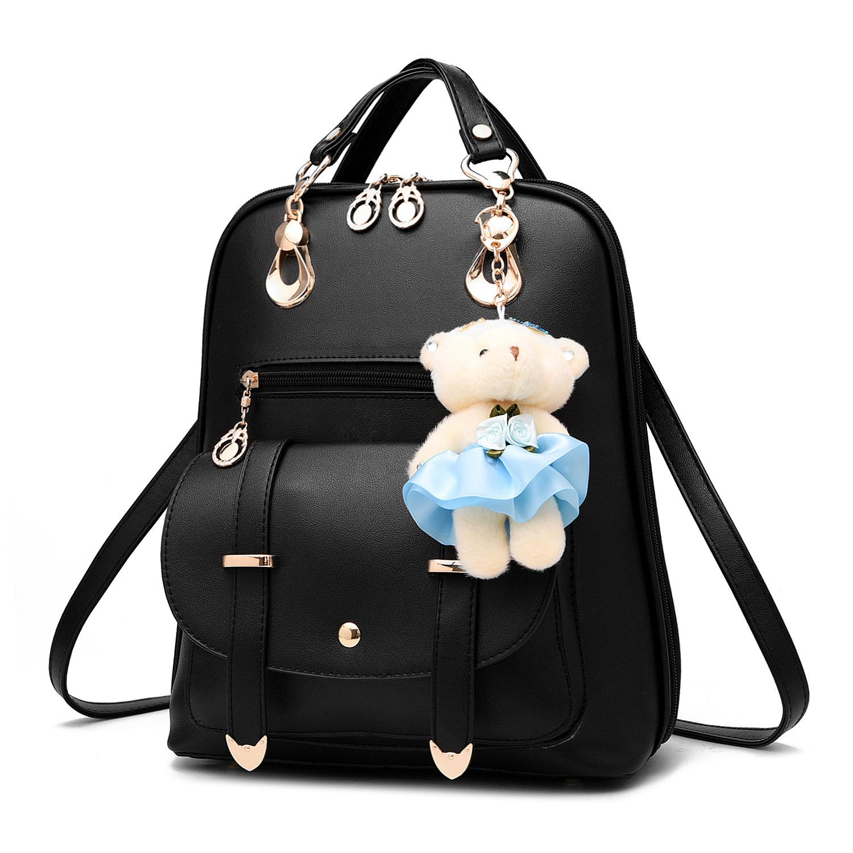 双肩包女式单肩背包日韩版休闲女包学生学院风书包秋季新款送小熊