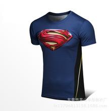 速賣通運動超人短袖男健身衣服 跑步籃球訓練速干T恤批發健身服男