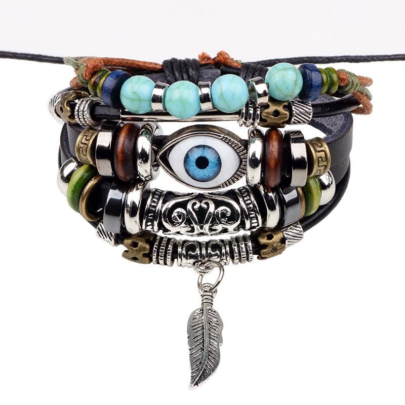 琦诺新款蓝色眼睛手链串珠多层牛皮手饰跨境货源热卖编织手链批发