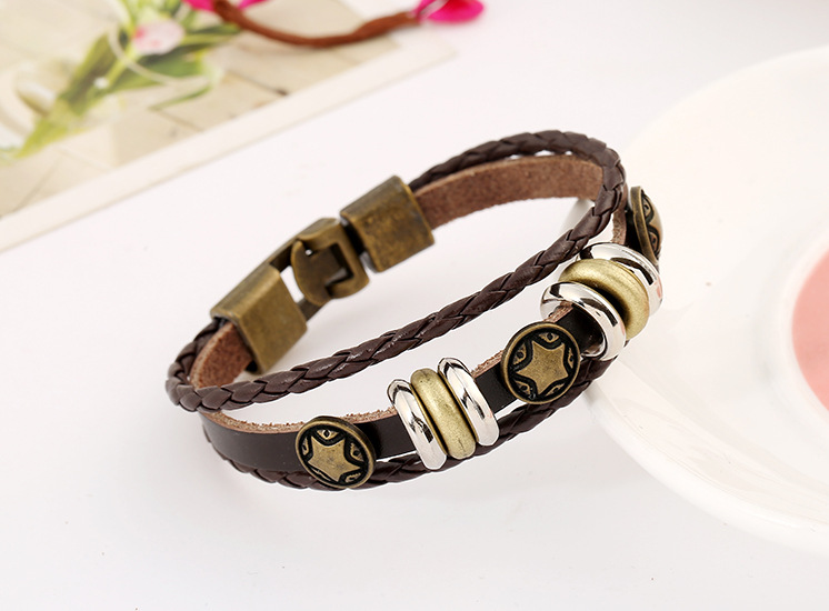 New style buckle leather jewelry retro alloy pentagram woven leather bracelet NHPK195307