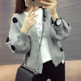 Autumn jacket female spring and autumn students long-sleeved shirt loose sweater women's cardigan short sweater female autumn and winter