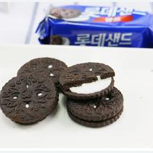 批发韩国进口乐天奶油夹心黑饼干甜可可巧克力奥利休闲零食品105g