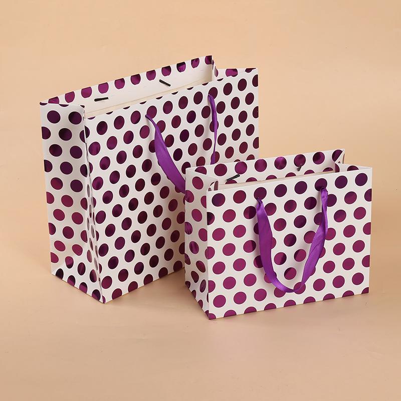 外贸热销创意手提袋波点礼品袋 服装购物袋包装厂家纸袋定制批发