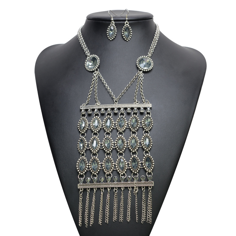 Bohemia alloy Inlaid stones necklace (Silver blue)NHYT0464-Silver blue