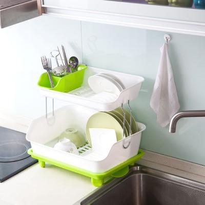 【保质量】塑料双层碗架置物架餐具收纳架水果蔬菜沥水架(双层)