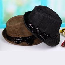 夏季草编礼帽 亮片织带蝴蝶结装饰男女通用小礼帽时尚草帽凉帽