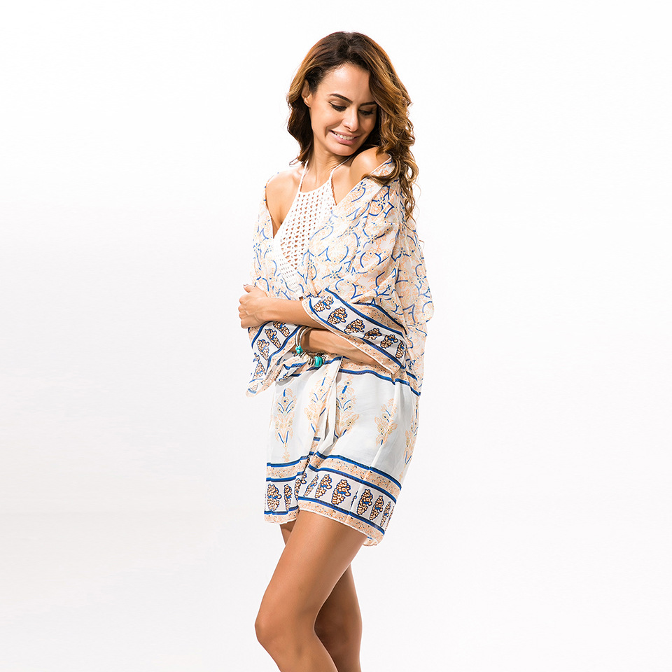 Occident and the United States Chiffon printing clothing (Beige - One Size)NHDF0461