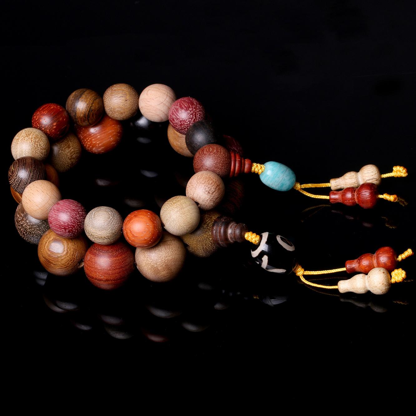原创 多宝珠佛珠 手串 多种檀木楠木 手链 单圈 念珠手饰厂家直销