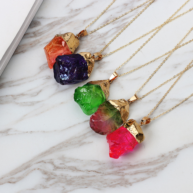 Europe and the United States Gold-plated silvernecklace (Seven color crystal)NHGY0612-Seven color crystal