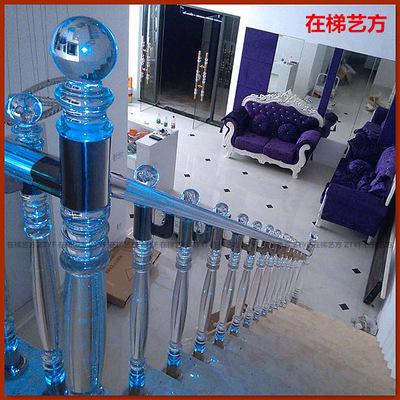 【在梯艺方】201不锈钢夹亚克力水晶楼梯立柱栏杆扶手004BC