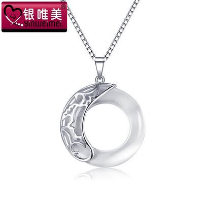 925纯银荷塘月色吊坠 欧美复古 项饰时尚韩版锁骨链项链珠宝 证书
