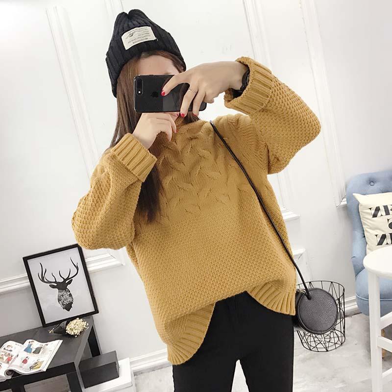 2018秋冬新款日系甜美女士高领套头毛衣学生?#21487;?#40635;花编织打底衫潮