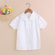 厂家直销2019外贸童装 春秋装新款女童花边短袖白衬衫 儿童白衬衣