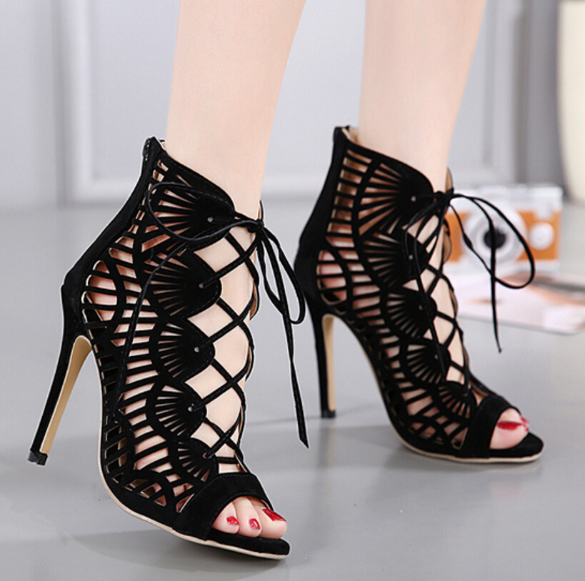 Cutout cross strap high heel sandals fish mouth sexy women s shoes SO190424119048