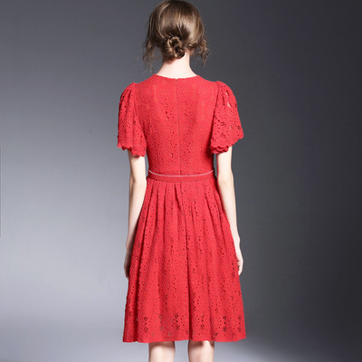 Hitz women solid color waist was thin hollow soluble flowers a short-sleeved lace dress red dress skirt type