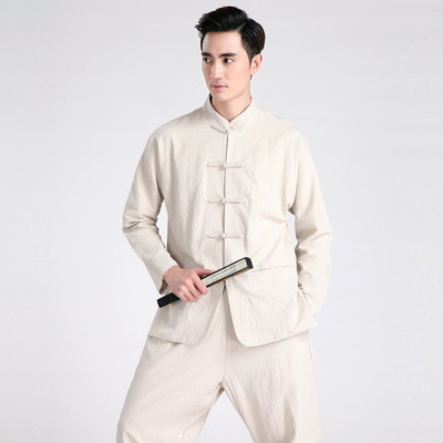 Chinese tang suit pants Trousers men country large linen T-shirt suit Han suit men ancient Tang Dynasty cotton linen long pants two piece set