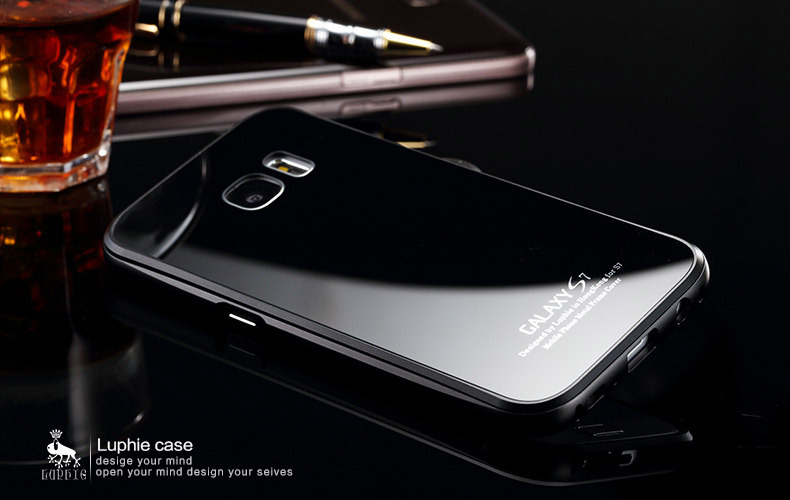 Luphie Aircraft Aluminum Metal Frame 9H Tempered Glass Back Cover Case for Samsung Galaxy S7 Edge G9350