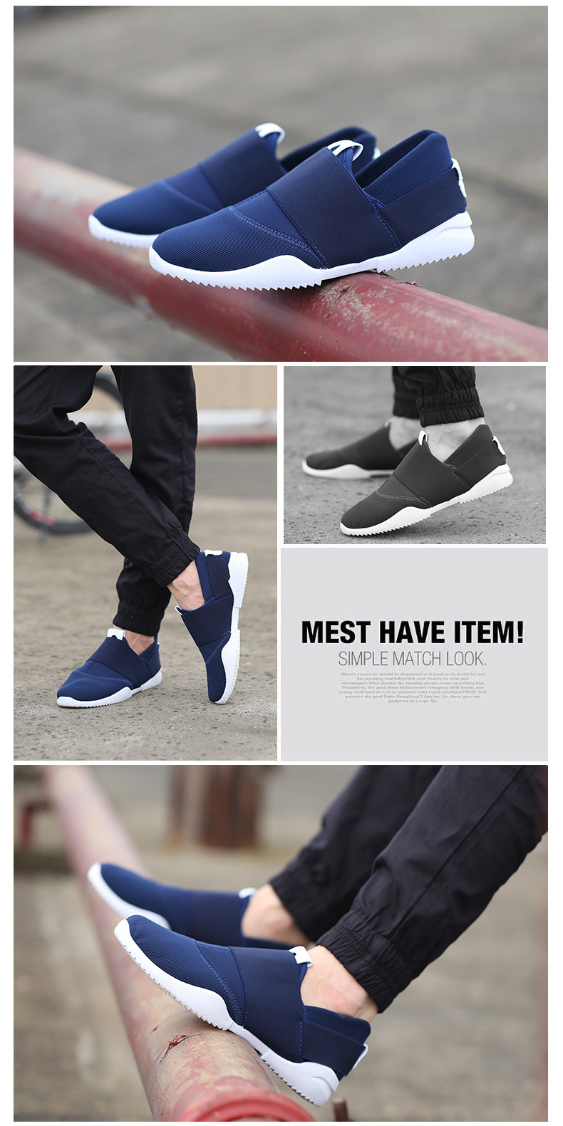 Men Slip-Ons Higher Shoes Men's Casual Shoes Breathable Canvas Sneakers Shoes For Men blue 39 2