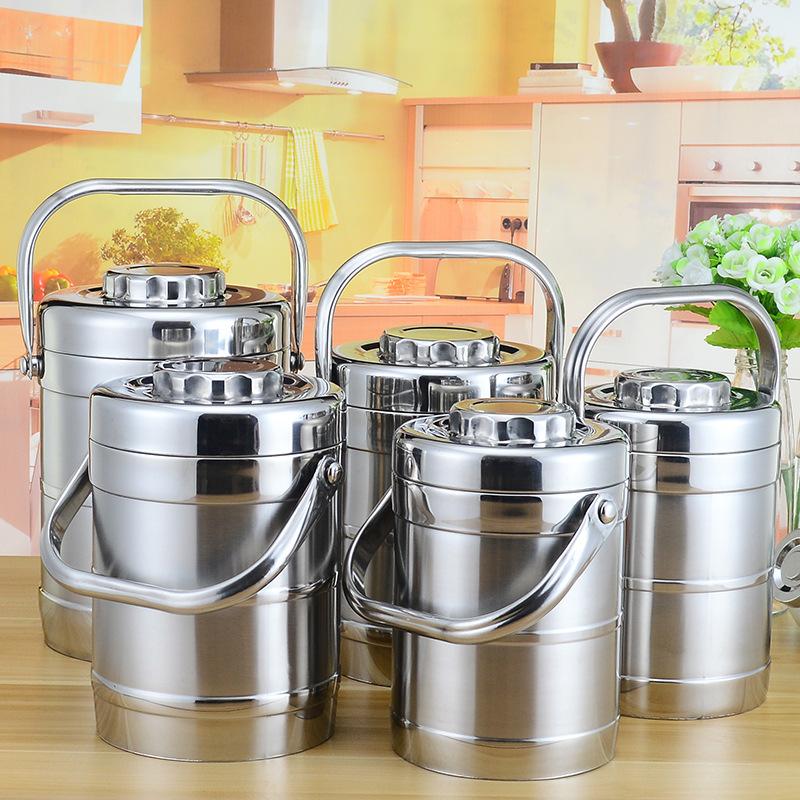 厂家直销不锈钢真空提锅双层保温便当盒直型中式保温食格桶