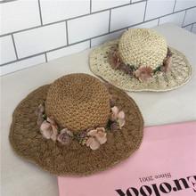 新款女士草帽防晒沙滩遮阳帽拉菲花环春夏天手工编织花朵帽子批发