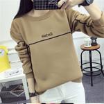 冬季实拍新款女装 韩版宽松字母长袖卫衣学生范加绒加厚百搭上衣
