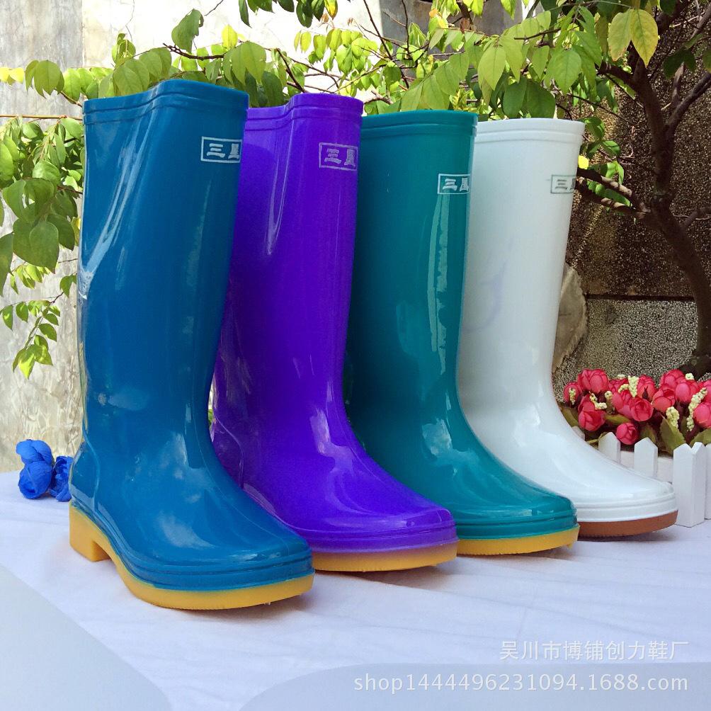 雨鞋三星牌女款 高筒106防滑防酸防潮劳保鞋 工厂直销