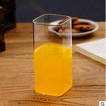 简约绿茶杯无色透明耐热玻璃带把茶杯 玻璃杯 居家日用水杯300ml