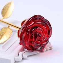 廠家批發 七夕情人節高檔水晶玫瑰花 送老婆女友心愛禮物家居擺件