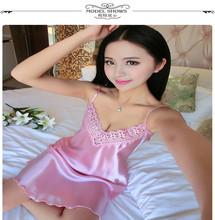 Đầm ngủ nữ thời trang, kiểu dáng hai dây, thiết kế phối ren quyến rũ