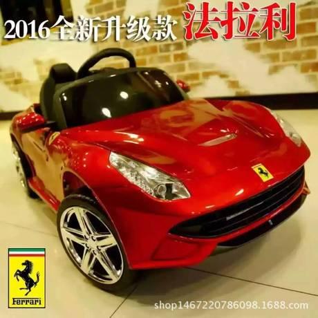 厂家直销法拉利四轮双驱遥控可坐宝宝蓝牙儿童电动汽车摇摆玩具车