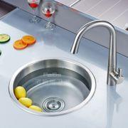 冲冠圆型单槽一体成型水槽单槽304不锈钢洗菜盆加厚水盆套餐现货