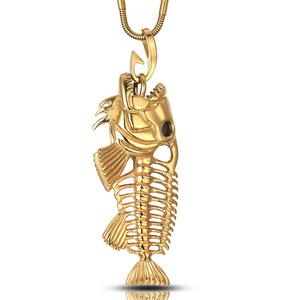 亚马逊 淘宝爆款 钛钢食人鱼骨吊坠 项链大款创意动物金饰品