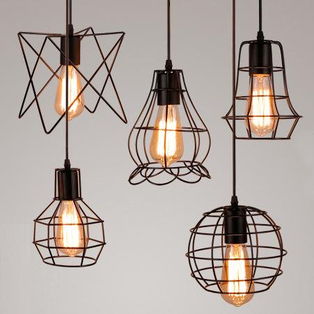 復古鐵藝小吊燈飾LED創意臥室單頭燈具簡約餐吊燈客廳廠家直批發