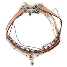 Occident and the United States retro Alloy + flannel Stitching necklace (Dark brown)NHYT0479-Dark brown