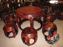 家具住宅 老挝大红酸枝圆鼓桌餐台七件套 放置老料材质稳定不开裂