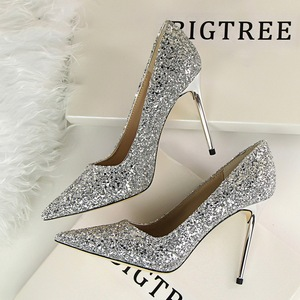 women's shoes with high heels show thin shallow mouth pointed shining sequins sexy