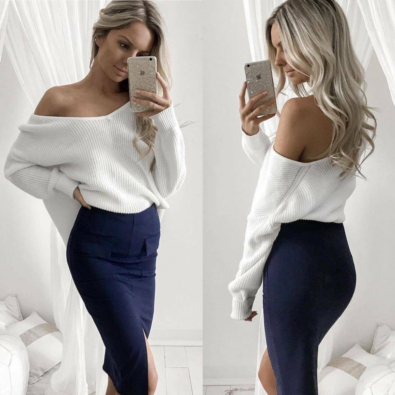 d38d4f958f6 Details about Women Off Shoulder Baggy Lady Long Sleeve Tops Casual Knitted  Sweater Jumper