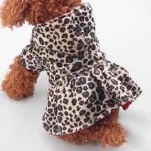 豹纹棉衣裙连帽衫 宠物泰迪狗衣服批发
