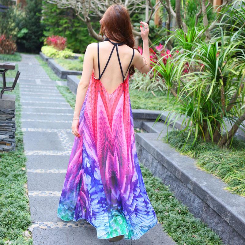 模特实拍女装 网红同款露背吊带雪纺连衣裙波西米亚度假长裙6593