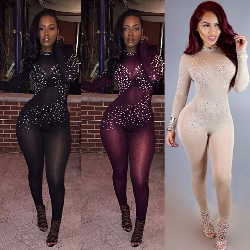 d02c03ea6dc Details about Sexy Mesh Perspective Long Sleeve See Through Bodycon Jumpsuit  Rompers Women