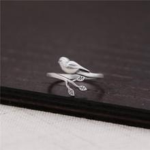 ?#26126;?#21407;创银饰 文艺复古泰银小鸟树叶指环 s925纯银戒指女士款