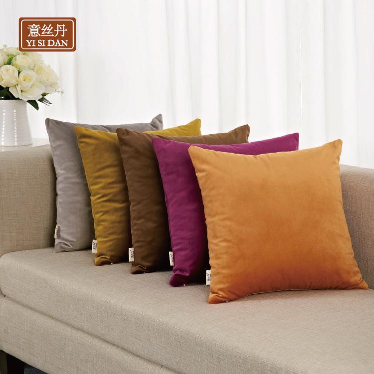 意丝丹可定制LOGO天鹅绒纯色简约靠枕毛绒沙发靠垫床上抱枕靠背垫