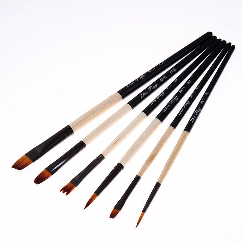 6支装短杆圆头尖头尼龙毛画笔水粉水彩油画画笔套装 美术用品A611