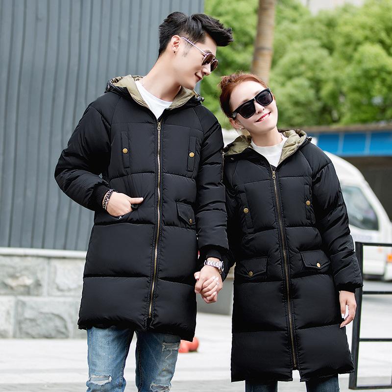 2016冬季新款 男情侣装羽绒棉衣中长款修身连帽外套 速卖通代购
