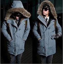 外貿亞馬遜秋冬新款 韓版時尚簡約中長款男士連帽抓絨休閑棉衣潮