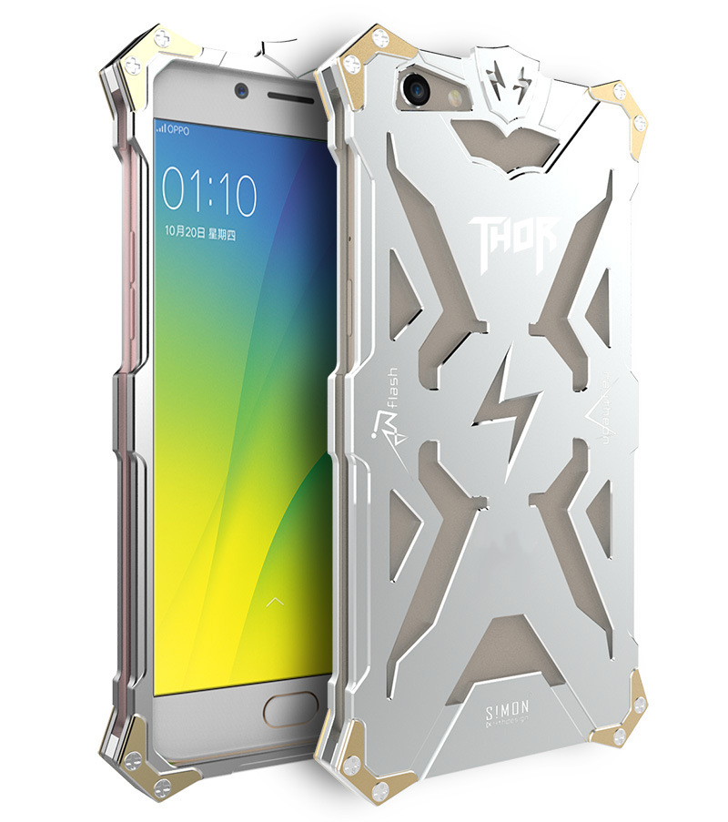 SIMON THOR Aviation Aluminum Alloy Shockproof Armor Metal Case Cover for OPPO R9s