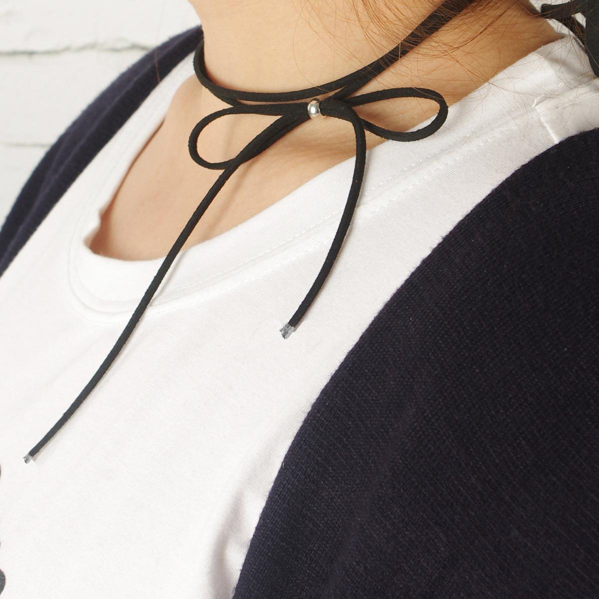 Womens Bow Knotted Korean Knit Cute bow Choker XR190430120079