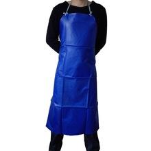 加厚蓝色围腰pvc防水围裙 防油耐酸成人无袖 酒店工作围裙饭单