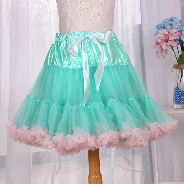 网纱青色白边欧美风蓬蓬裙 爆款半身裙批发