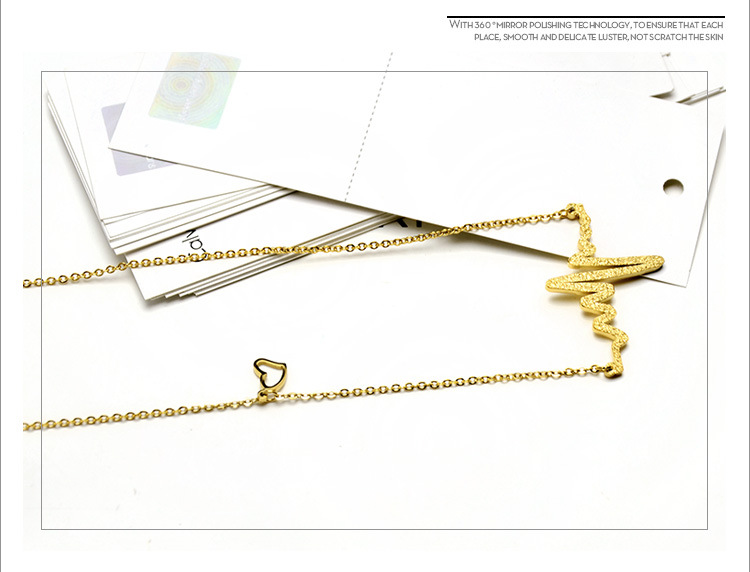 Fashion Scrub Electrocardiogram Lightning Necklace NHOK153009